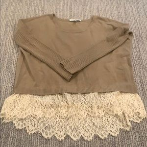 Autumn Cashmere Tan and Lace sweater